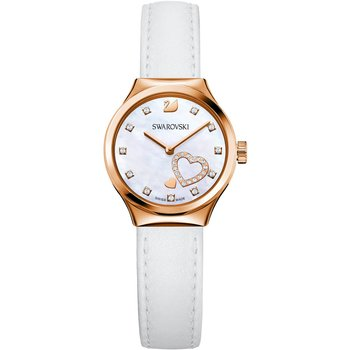 Dreamy Watch, Leather strap, White, Rose-gold tone PVD