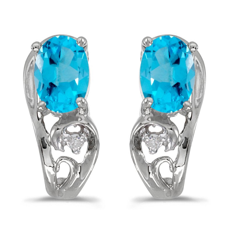 Color Merchants 14k White Gold Oval Blue Topaz And Diamond Earrings