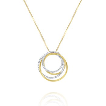 Diamond Intertwined Circular Pendant Set in 14 Kt. Gold