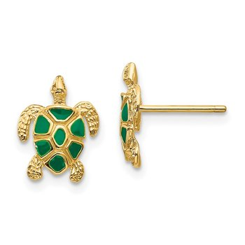 14K Green Enameled Sea Turtle Post Earrings