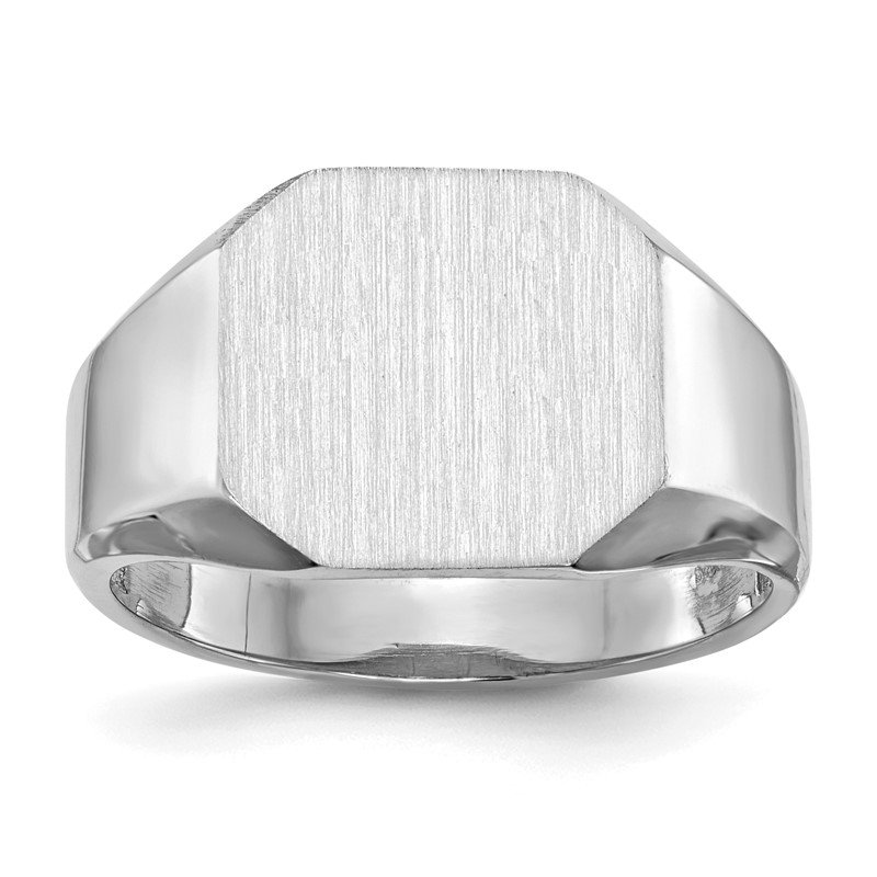 Quality Gold 14k White Gold 11.5x12.5mm Open Back Signet Ring