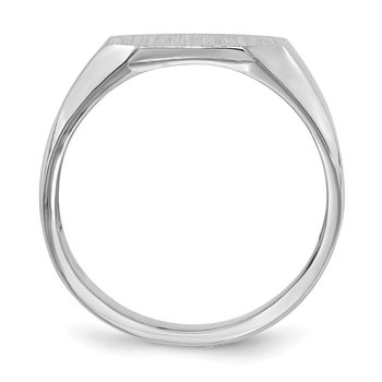 14k White Gold 11.5x12.5mm Open Back Signet Ring