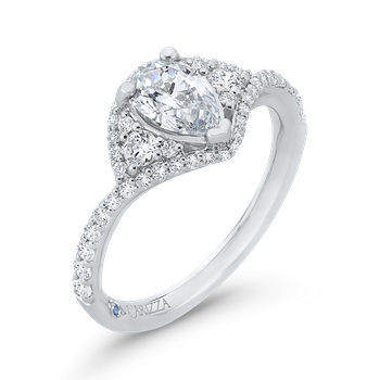 18K White Gold Pear Diamond Engagement Ring (Semi-Mount)