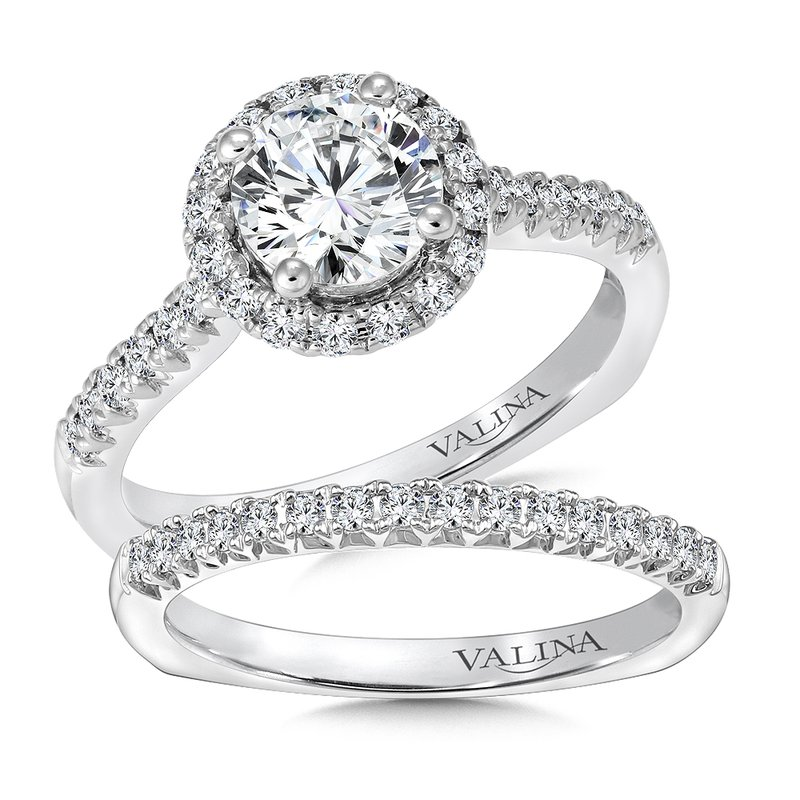 Valina Bridals Round halo mounting  .35 ct. tw.,  1 ct. round center.