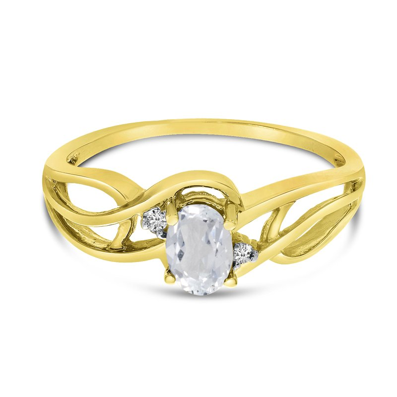 Color Merchants 14k Yellow Gold Oval White Topaz And Diamond Curve Ring