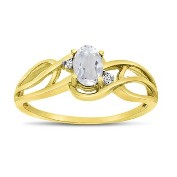 14k Yellow Gold Oval White Topaz And Diamond Curve Ring