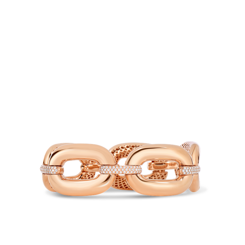 Roberto Coin 18Kt Gold Link Bracelet With Diamonds