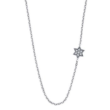Diamond Sideways Star Of David Necklace in 14k White Gold with 7 Diamonds weighing .04ct tw.