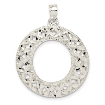 Sterling Silver Diamond-cut X Pendant