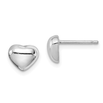 Sterling Silver Rhodium-plated Heart Post Earrings