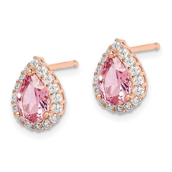 Sterling Silver Rose-tone Post CZ and Pear Teardrop Pink Crystal Earrings