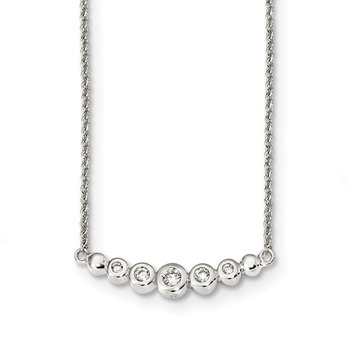 Sterling Silver Garduated CZ 18in Bar Necklace