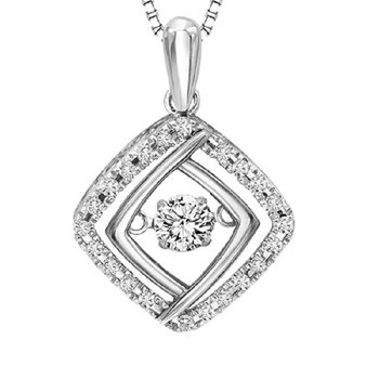 Silver & 10K Diamond Rhythm Of Love Pendant 1/3 ctw