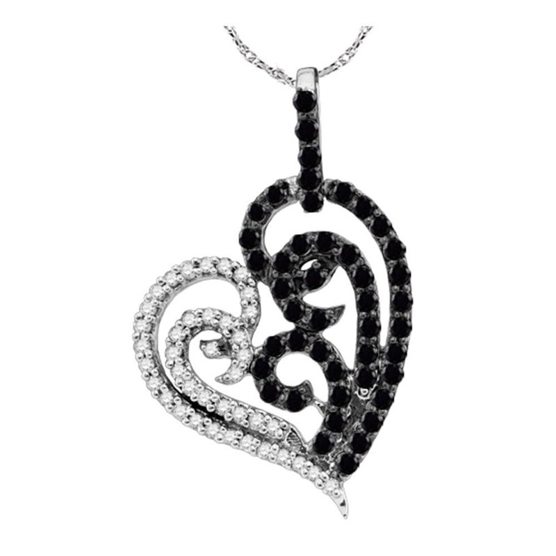 Gold-N-Diamonds 10kt White Gold Womens Round Black Color Enhanced Diamond Heart Pendant 5/8 Cttw
