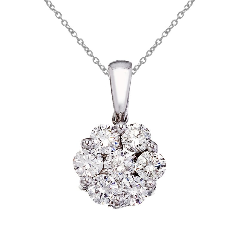 Color Merchants 14K White Gold 1 Ct Cluster Diamond Pendant