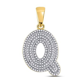 10kt Yellow Gold Mens Round Diamond Letter Q Bubble Initial Charm Pendant 3/4 Cttw