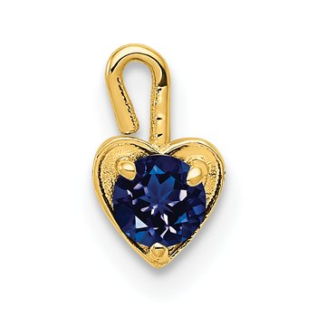 14ky September Synthetic Birthstone Heart Charm