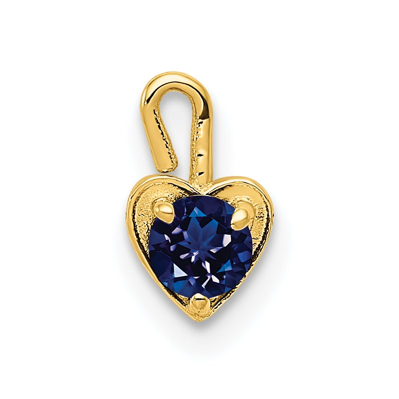 Quality Gold 14ky September Synthetic Birthstone Heart Charm