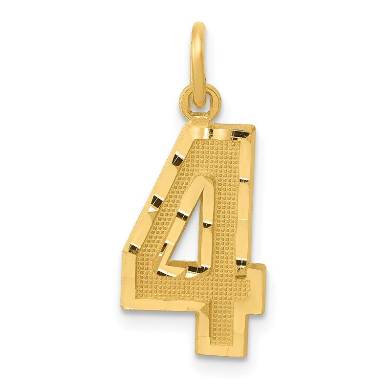 Quality Gold 14ky Casted Medium Diamond Cut Number 4 Charm