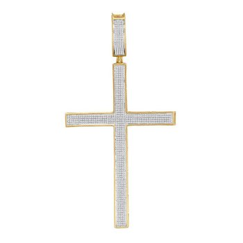 10kt Yellow Gold Mens Round Diamond Roman Cross Charm Pendant 1-1/3 Cttw