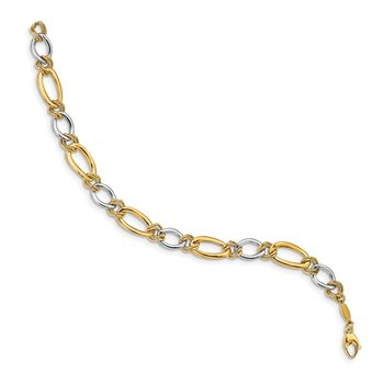 14K Two-tone Polished & Textured Fancy Oval Curb Bracelet