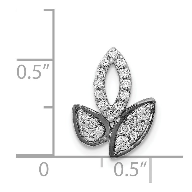 Quality Gold 14k White Gold 1/4ct. Diamond Fancy Leaf Chain Slide