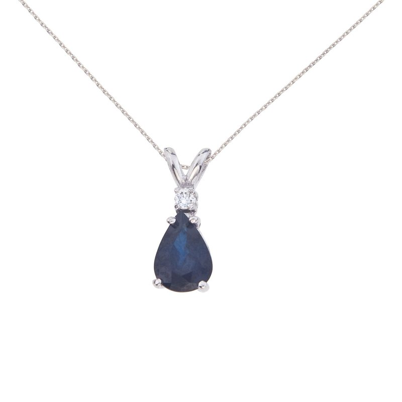 Color Merchants 14k White Gold  Pear Shaped Sapphire and Diamond Oval Pendant