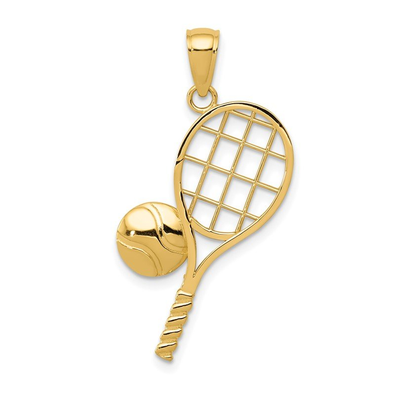 Quality Gold 14k Diamond-Cut Tennis Racquet Charm