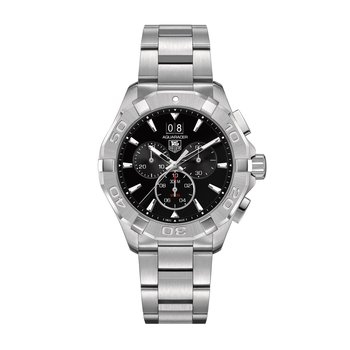 Stainless Steel Aquaracer Quartz Chronograph Watch. The 43 mm Watch Has A Black Dial, Unidirectional Rotating Bezel, Steel Case And Bracelet With A Wet-Suit Extension. Model CAY1110