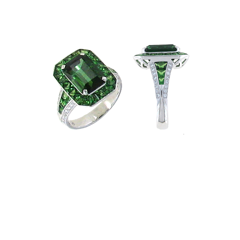 Roberto Coin 18Kt Gold Ring With Diamonds, Green Tourmaline And Green Garnet