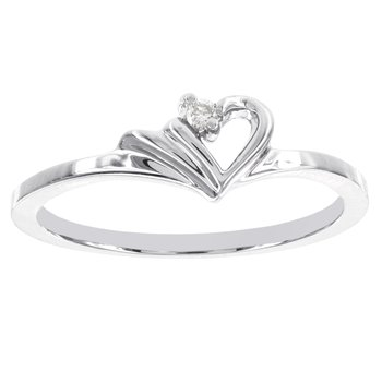 14k White Gold Diamond Accent Heart-shaped Promise Ring
