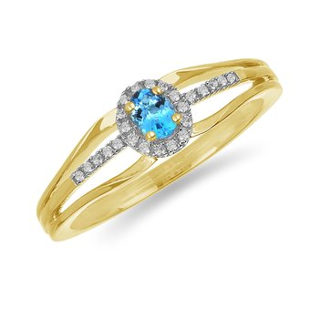 10K YG and diamond and Topaz halo style birthstone ring