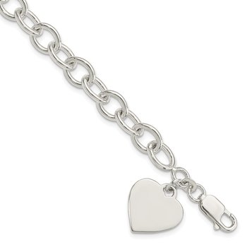 Sterling Silver Engraveable Heart Fancy Link Bracelet