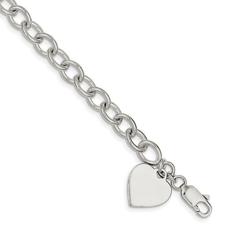 Quality Gold Sterling Silver Engraveable Heart Fancy Link Bracelet