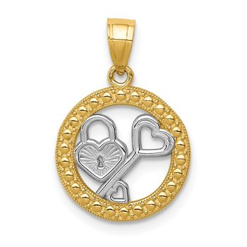 14K w/Rhodium Lock & Key Pendant
