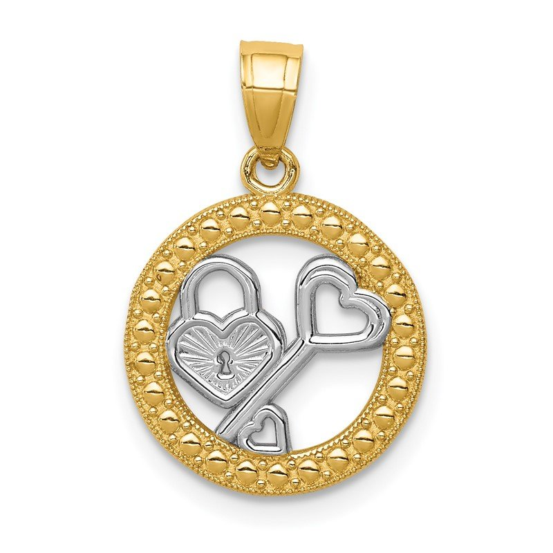 Quality Gold 14K w/Rhodium Lock & Key Pendant