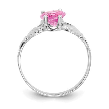 14k White Gold October CZ Birthstone Claddagh Ring