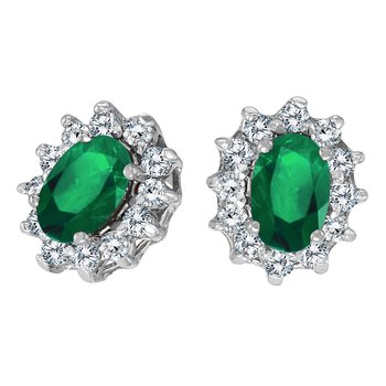 14k White Gold Oval Emerald and .25 total ct Diamond Earrings