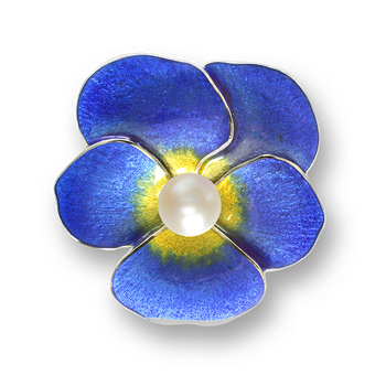 Sterling Silver Pansy Brooch-Blue. Pearl