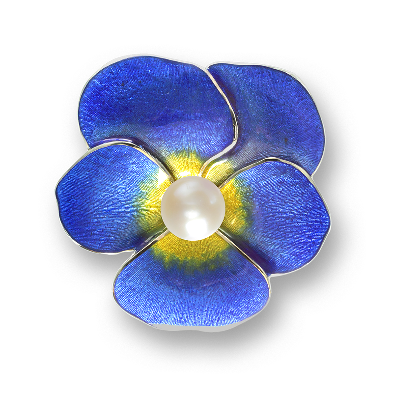 Nicole Barr Designs Sterling Silver Pansy Brooch-Blue. Pearl