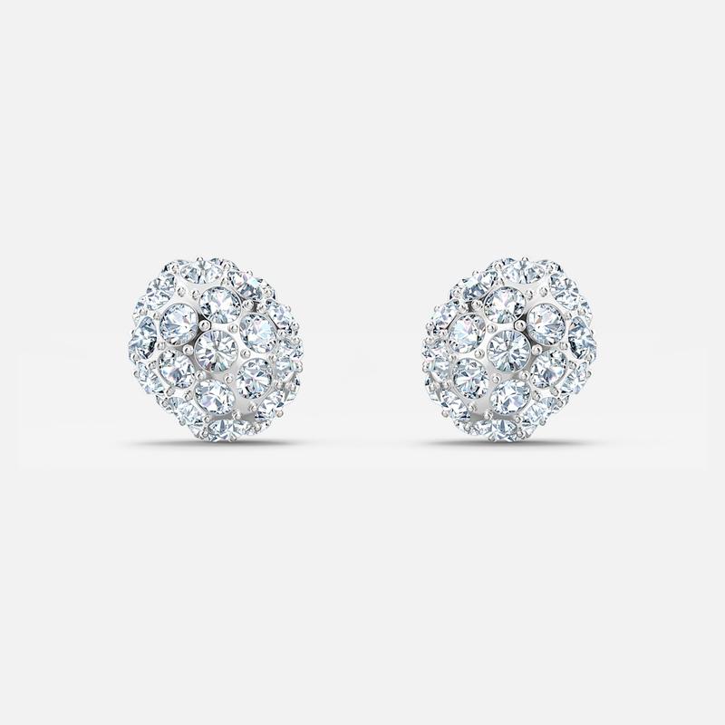 Swarovski So Cool Stud Pierced Earrings White Rhodium Plated Savoy S Jewellers