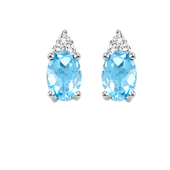 10K White Gold Color Ensembles Prong Blue Topaz Earrings 1/25CT
