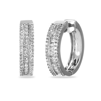 14K WG Diamond Hoops with Round and Princess Stones
