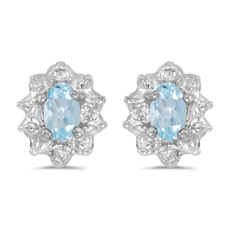 10k White Gold 5x3 mm Genuine Aquamarine And Diamond Earrings