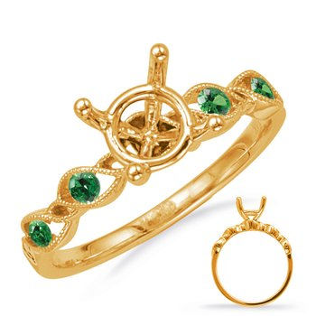 Yellow Gold Engagement Ring with Emerald