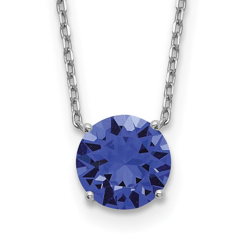 Quality Gold Sterling Silver RH Plated Blue Swarovski Crystal w/ 2in ext Necklace