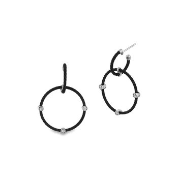 Black Cable Double Hoop Drop Earrings