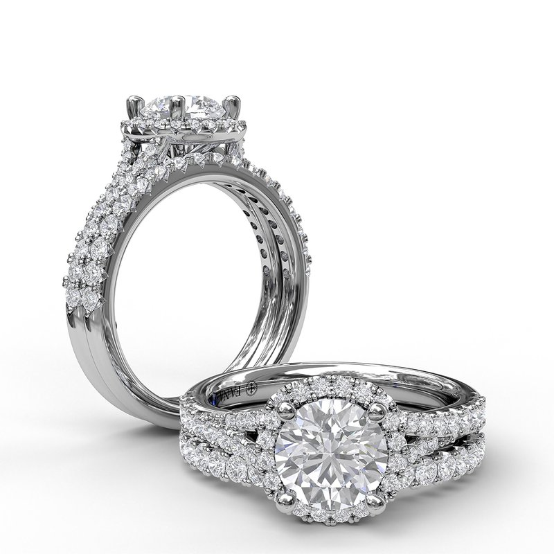 Fana Classic Halo With A Twist Engagement Ring