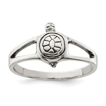 Sterling Silver Solid Turtle Ring