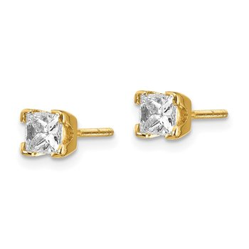 14k AA Quality Complete Princess-cut Diamond Stud Ear